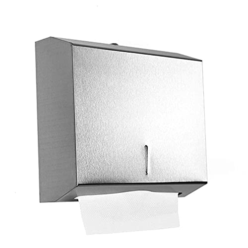 Gonioa Wall-Mounted Comercial Paper Towel Dispenser, Brushed Stainless Steel Bathroom Hand Towel Dispenser with Lock Design, Large Capacity 250 C-Fold / 300 Multi-Fold Capacity