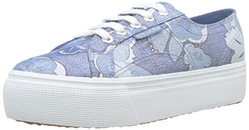 SUPERGA 2790-FABRICLAMEFLOWERW, Sneaker Donna, Blu (Blue/White A25), 37 EU