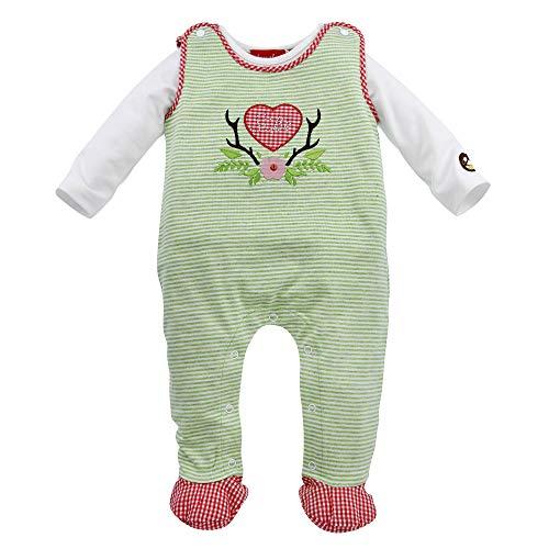 Alpenglück Baby-Strampler 'Süße' aus Baumwolle Gr. 56 I Schöner Mädchen-Strampler in Grün-Weiß I Süße Baby Kleidung, kariert & langärmlig I Strampelanzug aus Stretch I Wunderschöne Kinderbekleidung