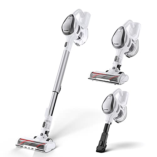MOOSOO Cordless Vacuum Cleaner, 14KPA Powerful Suction Stick Vacuum 4 in 1 with 1.3L Large Dust...