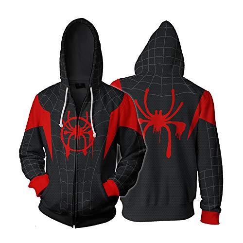 MODRYER Kid Nero Spiderman Pullover Into The ragnoverso con Cappuccio 3D Stampa Miles Morales Felpa Adulti Bambini Ponticelli Formazione Usura del Costume,Into The Spider Verse-Small
