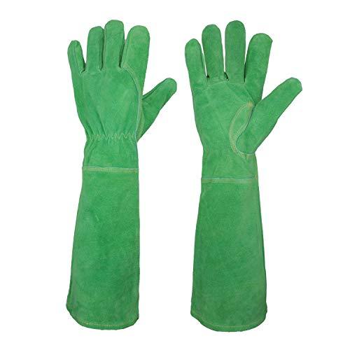 Rosen-Gartenhandschuhe für Damen. Dornenfeste Rindsleder-Gartenhandschuhe mit langem Rindsleder-Handschuh zum Schutz Ihrer Arme bis zum Ellenbogen (Medium, Grün)
