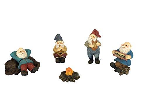 GlitZGlam Campamento de Gnomos Felices - Jardín de 6 Piezas Juego de Jardín de Gnomos en Miniatura