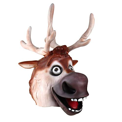 XWYWP Halloween Maske Reindeer Sven Maske Cosplay Tier lustige Elch Latex Masken Halloween Karneval Party Kostüm Requisiten svenmask