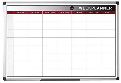 Bi-Office Earth - Planning Semanal, Magnética, Marco de Aluminio, 90 x 60 cm
