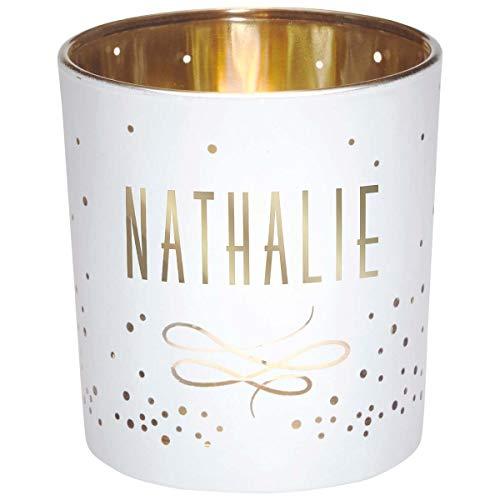 Photophore prénom en Verre Blanc et Or - Nathalie - Draeger