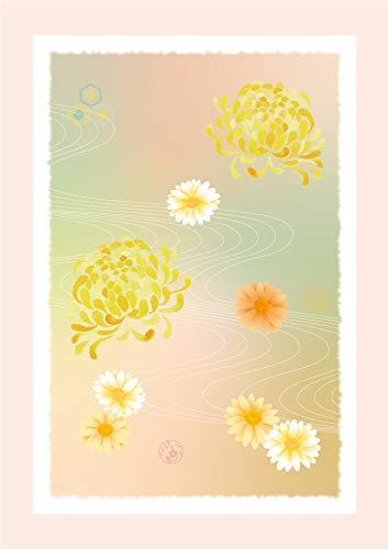 和柄絵はがき【流水文様に菊の花】( POSTCARD ) (サイズ:100 x 148mm 大礼紙厚口180k 厚み:0.26mm)日本製 (12)