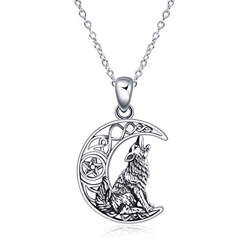 POPKIMI Sterling Silver Wolf Jewelry Howling Wolf Pendant Necklace for Men for Women, 18'+2' (Style-1)