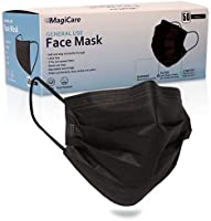 MagiCare Black Disposable Face Masks - Comfortable, Breathable, Soft - Premium 3 Ply Face Mask - Black Face Masks (1...