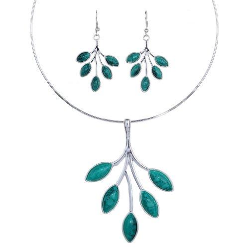 Vintage Tibetan Silver Branch azul turquesa babero collar llamativo pendientes Set regalo de las mujeres