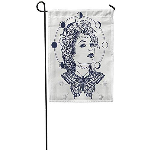 AllenPrint Outdoor Yard Flag,Magic Woman Und Butterfly Tattoo T-Shirt Design Jugendstil-Symbol...