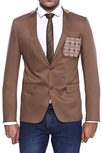 Wessi Modellierter Blazer Mit Brusttasche Und Kragen Business Suit Jacket, Marrón, 56 Mens