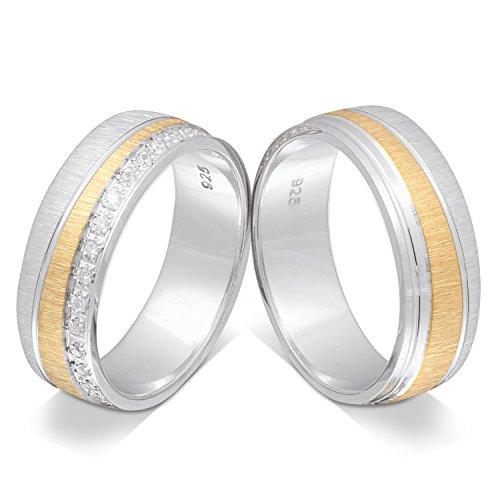 Juwelier Schönschmied - Zwei Verlobungsringe Eheringe Partnerringe Silber Zirkonia inkl. persönliche Lasergravur 58-58 LANrS41HD - Cromwell
