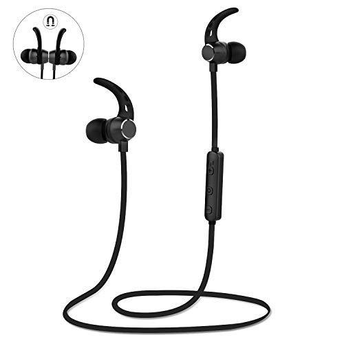 LOBKIN Magnetic Wireless Earbuds Sport in-Ear Headphones, 4.1Lightweight Stereo Bluetooth Earphones, Sweatproof IPX5 Super Sound Quality 6 Hours Play Time Earphones(Black)