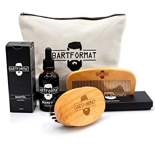 BARTFORMAT® 4-teiliges Bartpflege-Set WEICHMACHER - inklusive Bart-Öl (50ml) + Bart-Bürste + Bart-Kamm + Kulturbeutel - Hochwertiges Set für die tägliche Bartpflege - Geschenk für Männer