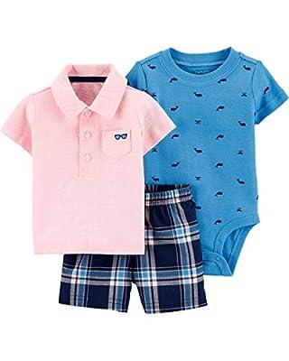Carter's Baby Boys' 3-Piece Little Short Sets (9 Months, Pink/Blue)