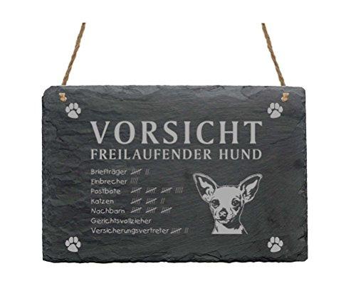 Schiefertafel « CHIHUAHUA - VORSICHT FREILAUFENDER HUND » Größe ca. 22 x 16 cm - Schild mit Hunde Motiv - Türschild Garten Tor Tür Terrasse Haustür