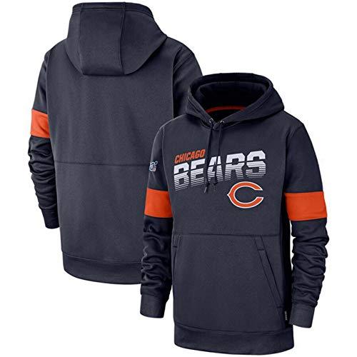 DKZ Herren Hoodies – NFL Chicago Bears Fußballmannschafts-Uniform, Kapuzenpullover, lässiges Sweatshirt mit langen Ärmeln, Basketball, Trainingsanzug, Fitnesskleidung, Größe S