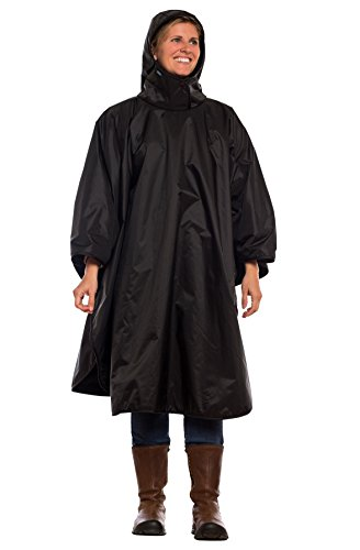 Mambe Poncho - 100% Waterproof and Fleece Lined for Extra Warmth (Regular, Black)