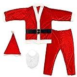 Disfraz de Papá Noel para Adulto Hombre - Chaqueta,pantalón,Barba,Gorro y cinturón para Navidad o Cosplay,Conjunto de 5pcs,Rojo (M)
