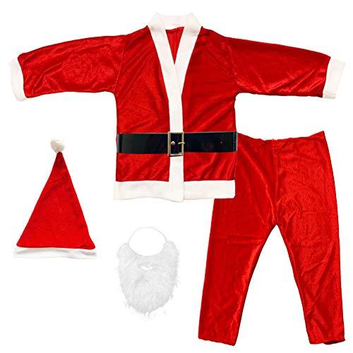 Disfraz de Papá Noel para Adulto Hombre - Chaqueta,pantalón,Barba,Gorro y cinturón para Navidad o Cosplay,Conjunto de 5pcs,Rojo (L)