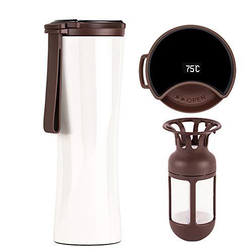 KISS KISS FISH Thermobecher, 430ml Edelstahl Trinkflasche, Intelligente Touch Kaffeebecher mit OLED Temperaturanzeige einschließlich Kaffeefilter (Weiße)