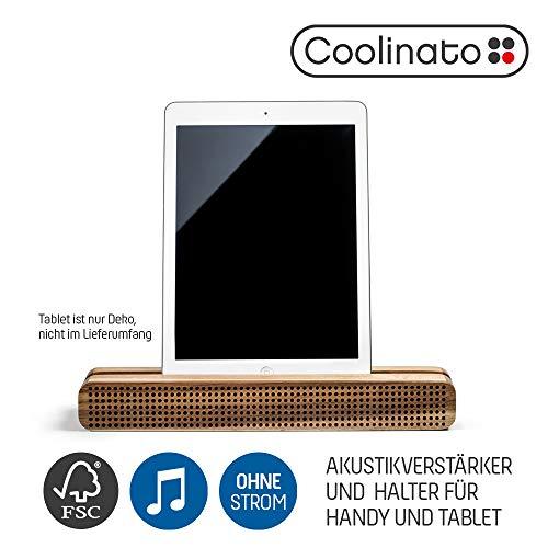 Coolinato Soundbar Holz, Smartphone und Tablet Halterung, Handy Soundverstärker für Kochrezepte und Videos, 30x4x9 cm
