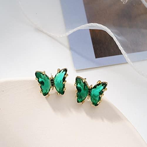 YFZCLYZAXET Pendientes Mujer Pendientes Casuales De Moda Pendientes Simples Pendientes De Cristal Joyería-Verde