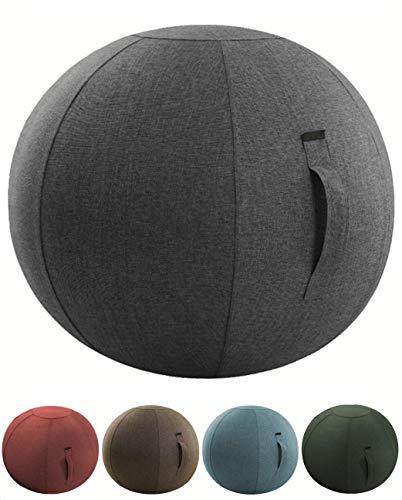 バランスボール シーティングボール カバー付き ボールチェア ポンプ ハンドル付き 【aereo di carta】 (ナチュラルグレー 65cm)