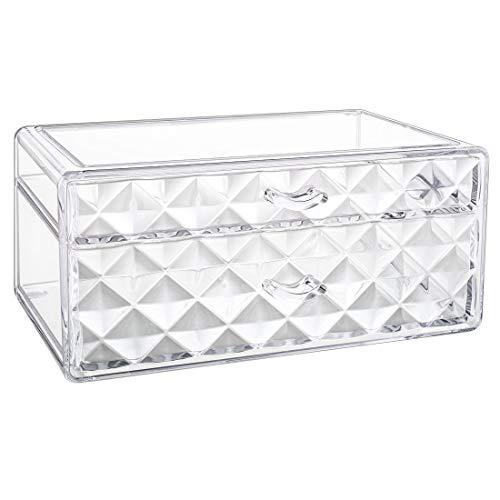 Luxspire Boîte de Rangement Acrylique pour Maquillages, de Qualité Supérieure Organiseurs pour Pinceaux Cosmétiques avec 2 Tiroirs, Rangement pour Bijoux - Transparent