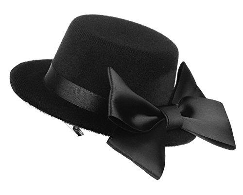 La Vogue Chapeau Mini Ruban Pince à Cheveux Épingle Femme Fille Cérémonie Noir