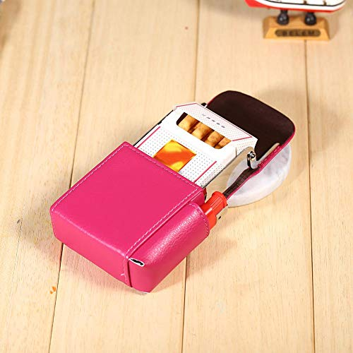 pitilleras para cigarrillos mujer, Pitillera de piel, elegante porta cigarrillos, paquete de cigarrillos de bolsillo, caja de cigarrillos para hombre y mujer (rosa cálido)