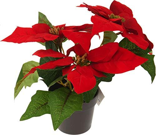 matrasa Weihnachtsstern Christstern künstlich - 30 cm - täuschend echte Kunstblume Rot
