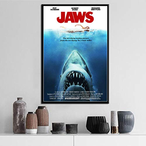 lubenwei Jaws Movie Horror Shark Posters And Prints Canvas Painting Wall Pictures For Living Room Nordic Decoration Home Decor 40x50cm No frame AW-576