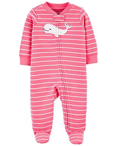 Macacão Pijama Carter's Baleia Rosa Algodão Bebê Menina com Zíper e Pezinho (6M)