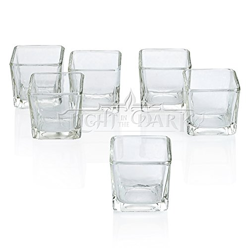 Light In The Dark Square Clear Votive Candle Holders Set of 12 - Glass Votive Tealight Holders - Perfect for Wedding Centerpieces, Home Decor