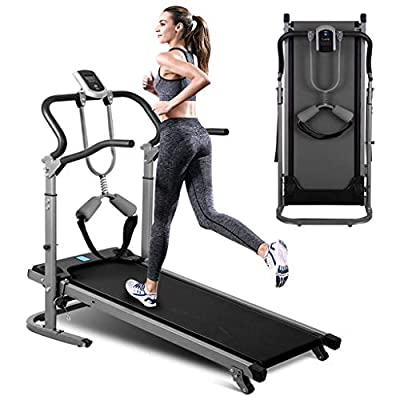 Manual Walking Treadmill, Folding Multifunctional Version of Shock-Absorbing Mechanical Treadmill for Home Gym Fitness Workout Jogging Walking