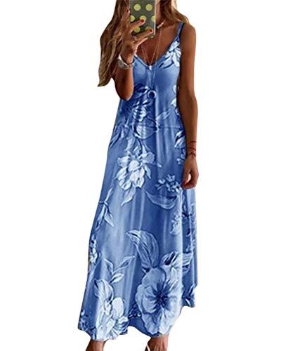 Minetom Maxikleider Damen Sommerkleid Casual Loose Ärmellos V Ausschnitt Strandkleid Boho Kleider Böhmen Drucken A-Linie Lang Kleid Partykleid A Blau 42