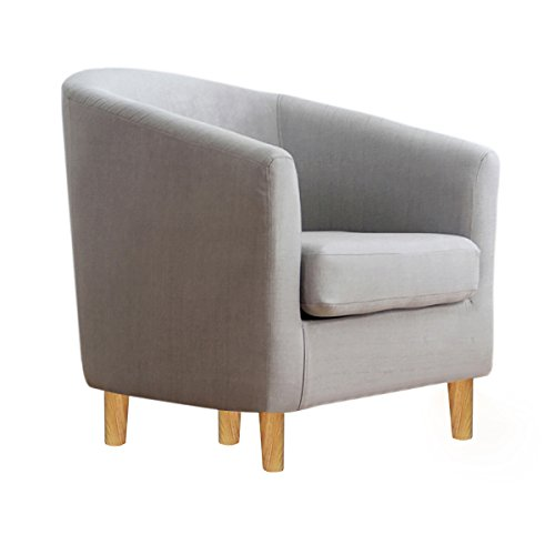 Warmiehomy Occasional Linen Fabric Tub Chair Armchair for Bedroom Living Room Office Lounge Reception (Grey)
