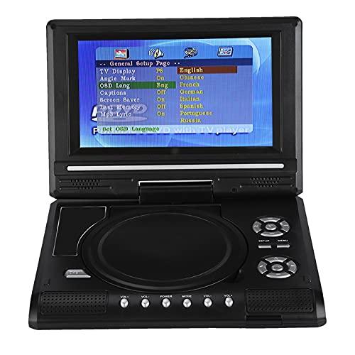 Bewinner 270° Reproductor de DVD Portátil-Función de Memoria de Punto de Interrupción 800mah Batería Recargable Incorporada 7 Pulgadas Pantalla LCD Panorámica 16: 9 -para Viajes,Coche,Juego(EU pulg)