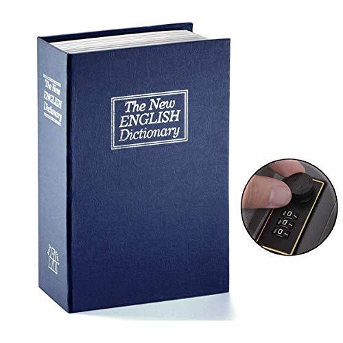Langtor Caja Fuerte para Libros con Cerradura de Combinación, Caja Fuerte Portátil, Ideal para Guardar Dinero, Acero(Grande, Azul)