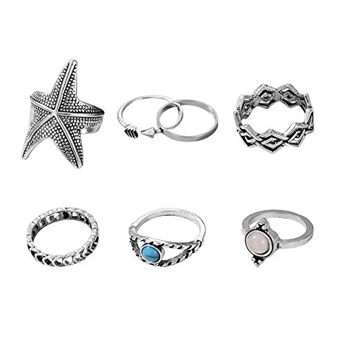7pcs/set Silver Sea Star Finger Rings Set for Women Knuckle Rings Jewelry