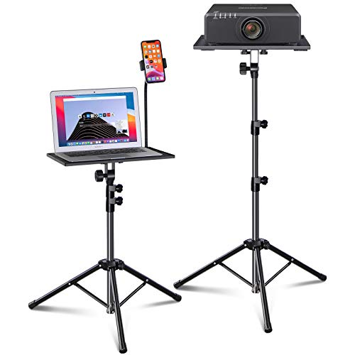 Laptop Tripod, Laptop Stand, Projector Tripod Stand with Gooseneck Phone Holder, Adjustable Height & Foldable Music Stand, Portable Tripod Stand Suitable for Laptop, Projector, DJ Equipment, Office
