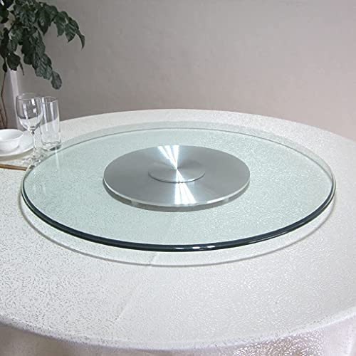Large Lazy Susan Tempered Glass Turntable Transparent Rotatable Serving Plate Round Tabletop Rotating Tray Smooth Silent Bearings for Kitchen Dining Table, Parties and Banquets, 60-120cm