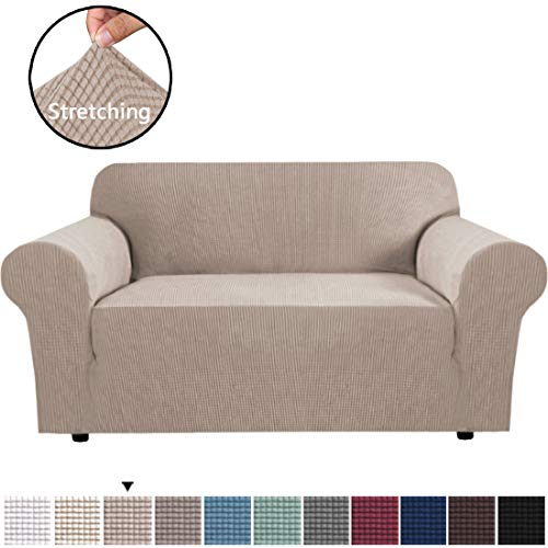Stretch Couch Cover Loveseat Covers for 2 Cushion Couch Loveseat Slipcover|Sofa Cover for Loveseat 1 Piece with Elastic Bottom, Textured Checked Jacquard Fabric(Loveseat 58'-72' Wide, Sand)