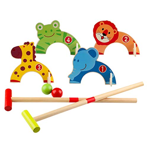 NUOBESTY 1 Juego de Croquet de Animales de Madera Juego de Béisbol de Juguete Juegos Deportivos para Niños Juego Educativo Temprano Juguetes Favores de Fiesta