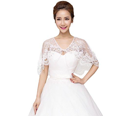 Fablcrew 1 Stück Bolero Braut Weiß elfenbeinfarben Hochzeit Brautschal aus Spitze Braut Bolero Cape für die Braut