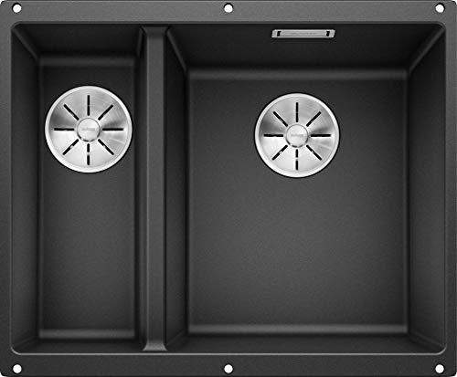 BLANCO SUBLINE 340/160-U - Unterbau Doppelspüle für die Küche für 60 cm breite Unterschränke - aus SILGRANIT - Grau - 523558