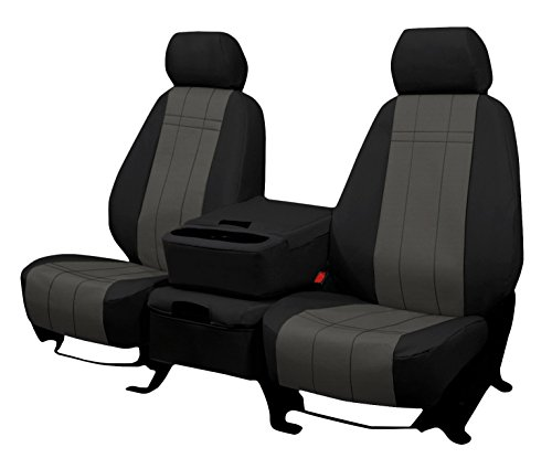 Front Seats: ShearComfort Custom Waterproof Cordura Seat Covers for Dodge Ram Pickup 2500-5500 HD (2013-2020) in Black w/Gray for 40/20/40 w/Folddown 3 Cup Console and Adjustable Headrests