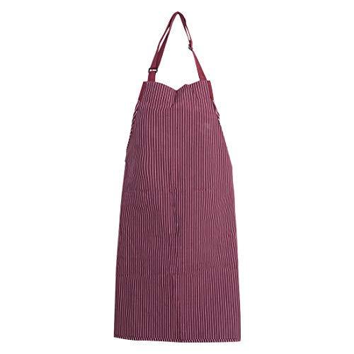 N/A Latzschürze, Bedruckt, verstellbar, mit 2 Taschen, Schürzen, aus Baumwolle, für Frauen und Männer, Kochen, Garten, Streifen, Bordeaux